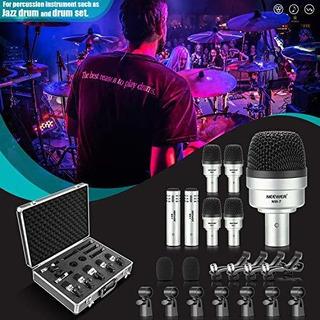 Nuevo 7 Piezas Kit De Instrumento Microfono De Tambor Con Ca