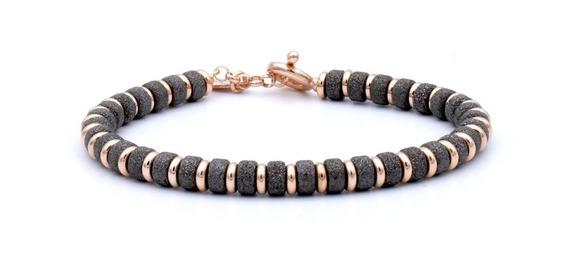Double Bone Big Beads Black & Rose Gold Plata .925 Diego Vez