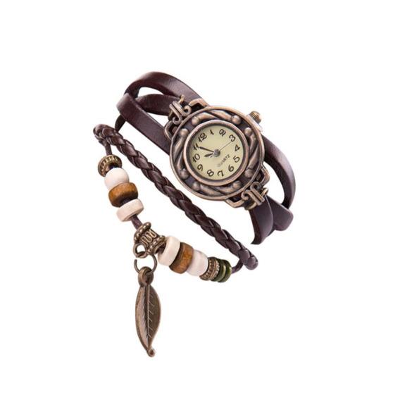 Relógio Feminino Pulseira Folha Pingente Barato Em Promoção
