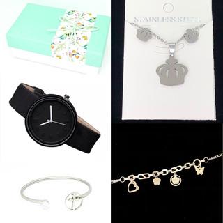 Combo Acero Quirurgico Pulsera + Collar+ Aros + Reloj + Caja