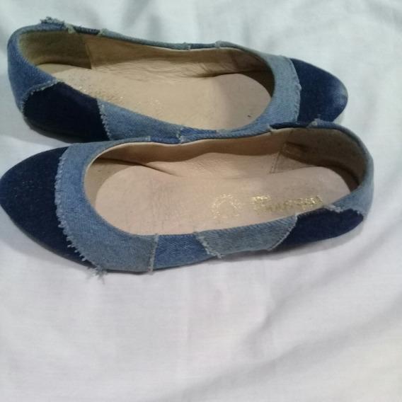 Zapatos Balerina Mezclilla Rasgada Talla 22