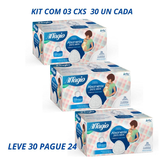 Absorvente Para Seios Affagio Kit 03 Cxs C/30 Un Cada