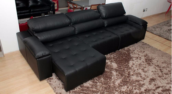 Sofa De Couro Retratil E Reclinavel 3 Mod. San Marino 2,60m
