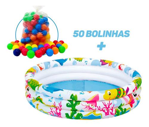 Piscina Infantil Inflável 180 Litros Colorida + 50 Bolinhas