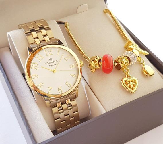 Relógio Champion Feminino Dourado Luxo + Pulseira Original
