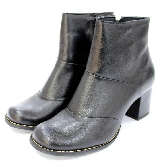 Bota Couro Dalí Shoes Cano Curto E Salto Grosso