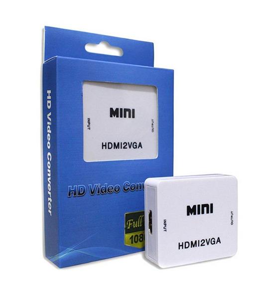 2x Adaptador Conversor Vga Para Hdmi Com Áudio P2 Mini