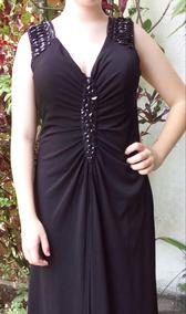 Precioso Elegante Vestido Negro De Fiesta Largo Con Pedreria