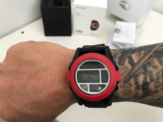 Relogio Nixon Baja Unit All Black/red Único No Mercado Livre