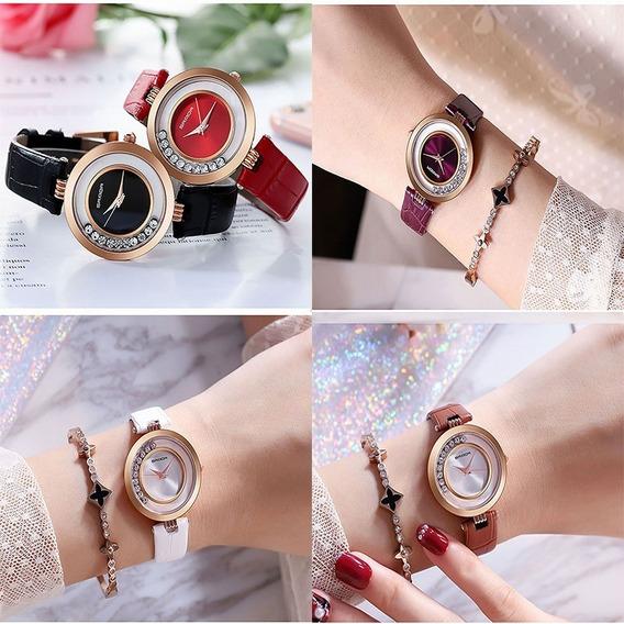 Relógio Feminino Casual Luxo Importado Couro Brilhantes
