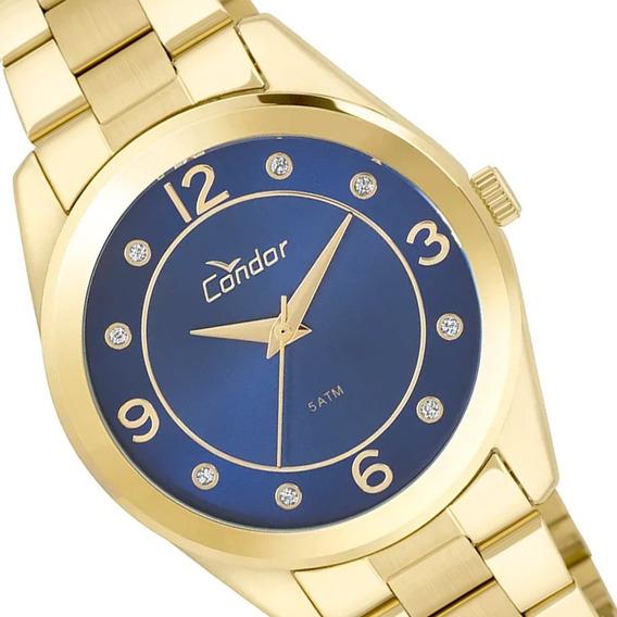 Relógio Condor Feminino Dourado Cristais Fundo Azul C/ Nf