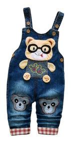 Macacão Jardineira Infantil Jeans Ursinho Importado