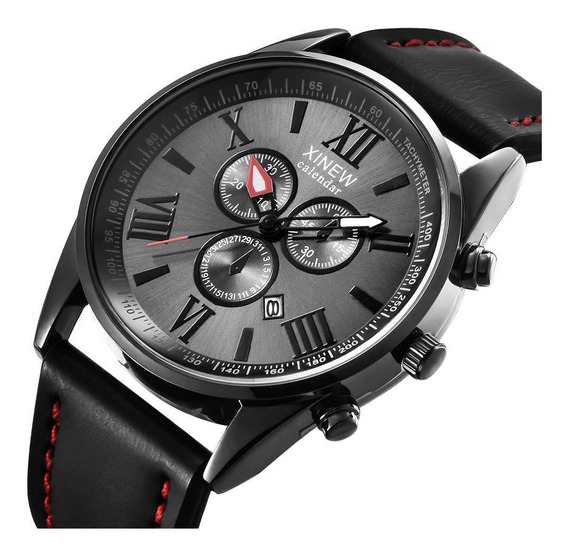 Relógio Masculino Luxo Slim Ultra Fino 6 Mm Espessura Couro