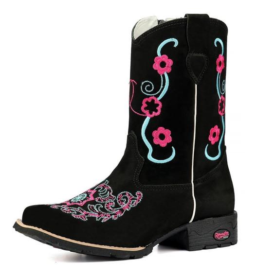 Bota Texana Botinha Country Infantil Feminina Couro Nobuck Tribal Rosa.