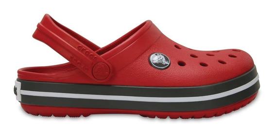 Zapato Crocs Unisex Infantil Crocband Rojo / Gris
