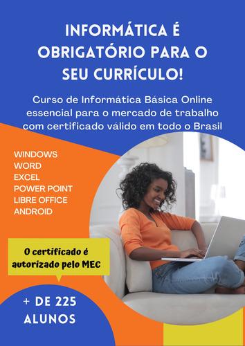 Imagem 1 de 10 de Curso De Informática Básica On-line Com Certificado
