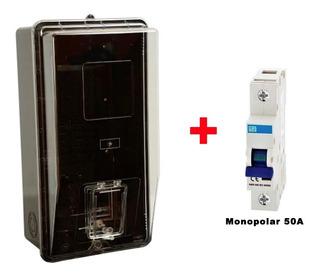 Kit Caixa Para Luz Monofásica + Disjuntor 50a Monopolar Weg
