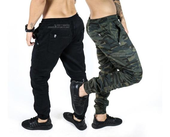 Kit 2 Calças Jeans Camuflada Jogger Masculina Elástico Lycra
