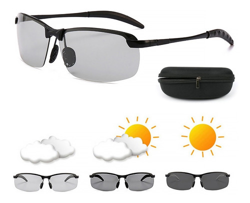 Imagen 1 de 8 de Gafas De Sol Fotocromáticas Polarizadas P/día/noche P + Caja