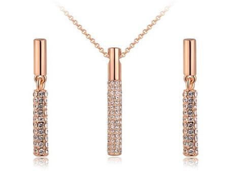 Dije Collar Y Aretes Cristal Swarov Elements Bello Regalo