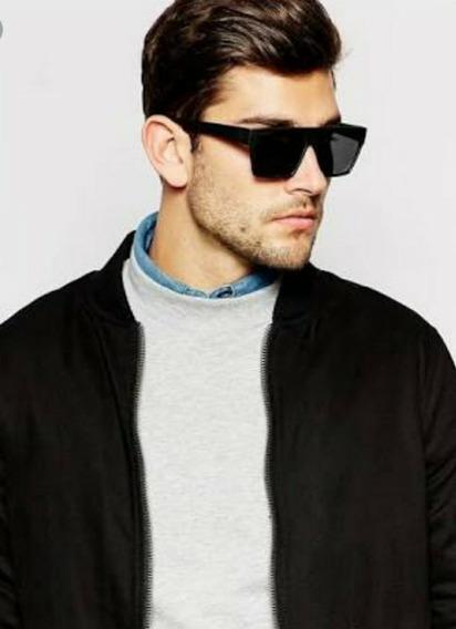 Óculos Masculino Clássico Preto Quadrado Lente De Vidro Moda