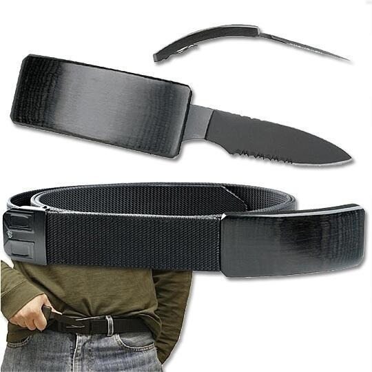 Cinturon Cuchillo Oculto Hebilla Cinto Tactico Defensa $