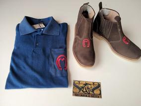 Botina Country Peão + Camisa Polo Mangalarga E Cinto Mm
