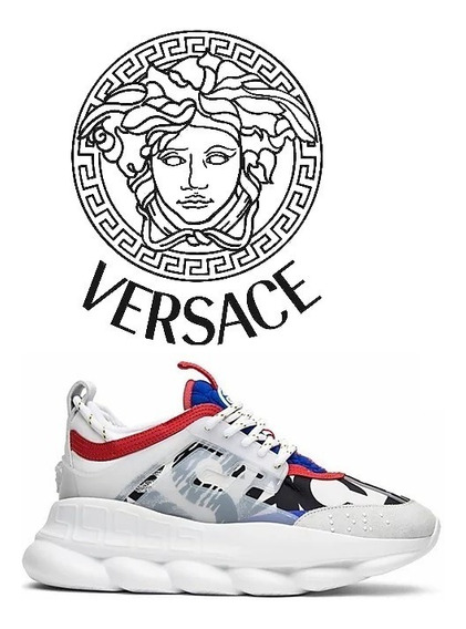 Versace Tênis Chain Reaction White / Blue / Red