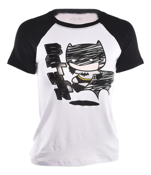 Playera American Level Batman Blanco Mujer