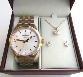 Relógio Feminino Champion Cn27705w + Kit Presente 3 Peças