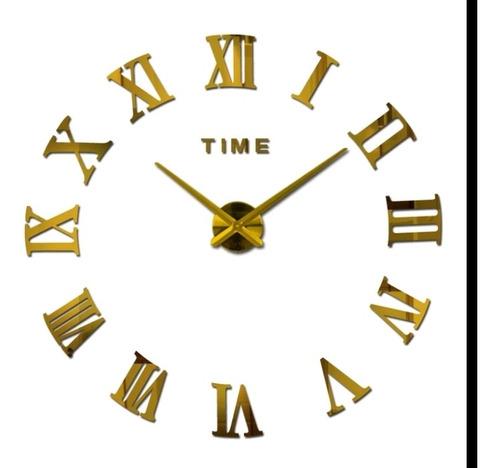 Reloj De Pared 3d Grande Color Dorado