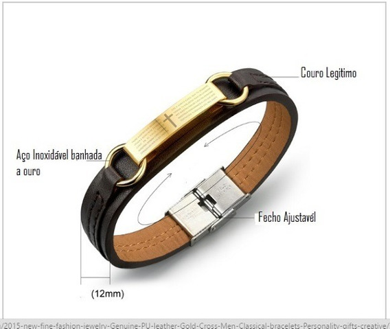 Kit 2 Pulseira Bracelete Unisex Em Couro Com Cruz