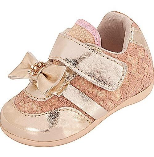 Tênis Infantil Bebê Plis Calçs Renda Rosê Com Dourado 1162