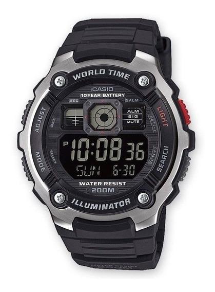 Relogio Casio Ae-2000w-1b Lcd-negativo Wr200m Crono Timer Lu