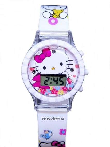 Relógio Hello Kitty Infantil Com Som Luzes Branco Original