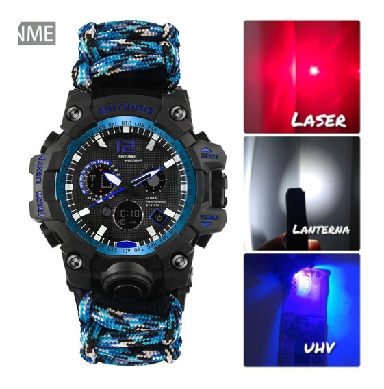 Relógio Da Sobrevivência Original C/ Lanterna/luz/ultrav Etc