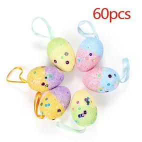 60pcs Espuma Páscoa Ovos Decorativo Pintado Ovos Multi