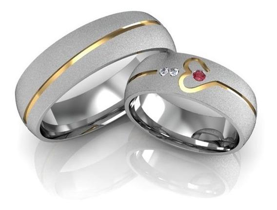 Alianças Namoro Prata Diamantadas Coração 6mm 12g
