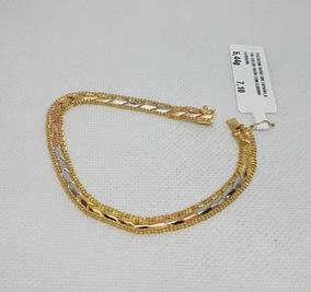 Pulseira Taparela Tricolor Em Ouro 18k 750 19cm 5,44g