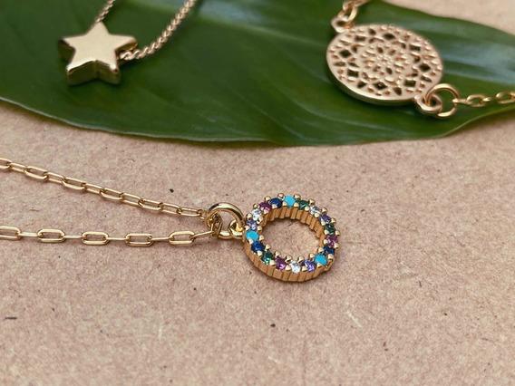 Collar Chapa De Oro 18k Con Zirconias De Colores