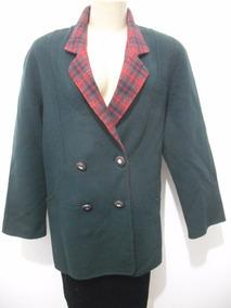 Casaco Sobretudo Verde Lã Batida G Forrado Usado Bom Estado