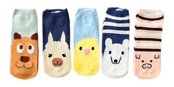 5 Par / Set Calcetines Tobillo Zapatillas Mujer Calcetín Fin