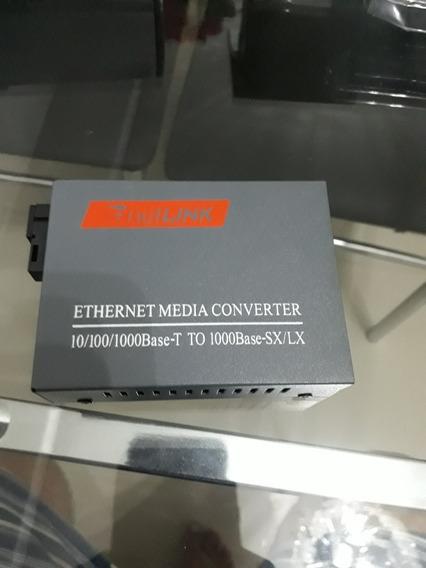 Conversor Mídia Giga Fib Óptica 1000 Mbps 20 Km 1 Pares A/b