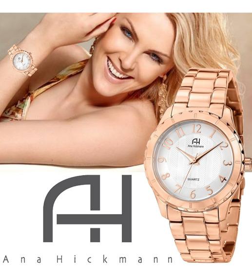 Relógio Feminino Rosê Ana Hickmann Todo Em Aço Ah28580z