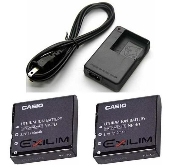 Carregador Casio Exlin Bc-31l + 2 Baterias Np-40
