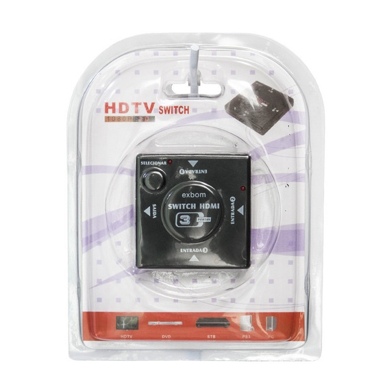 Hub Switch Hdmi 1x3 Portas Hdmi Exbom (5 Unidades)