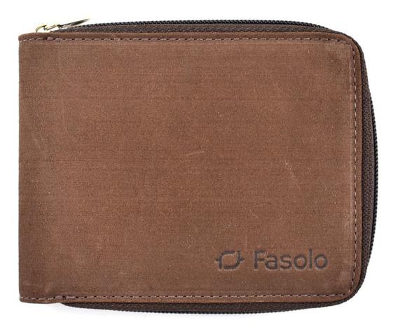 Carteira Com Zíper Couro Legítimo Original Fasolo K452