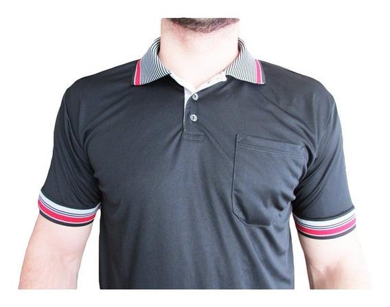 Camisa Gola Polo Dry Fit Detalhes Listrados Malha Fria