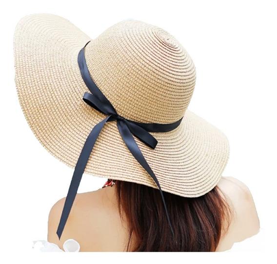 Sombrero Ala Larga Playa Elegante Proteccion Uv Mujer Dama