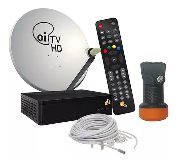 Receptor Oi Tv Livre Hd + Antena 60cm + 16 Cabos + Ku Duplo